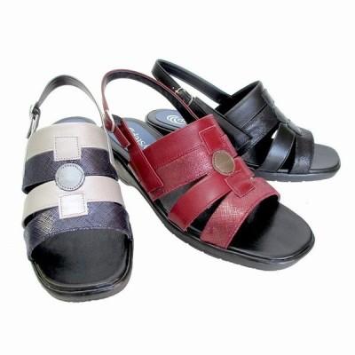 エアリーステップ Airy Step 1 レディース 天然皮革 サンダル ウエッジヒール ソフトレザー 仕事靴 通勤靴 ブラック ワイン シルバー