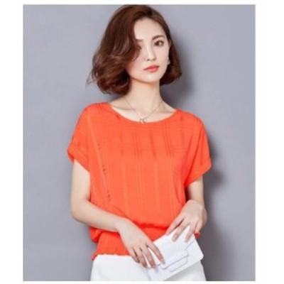 オレンジ L ブラウス シャツ レディース トップス 半袖 オフィス エレガント 透け感