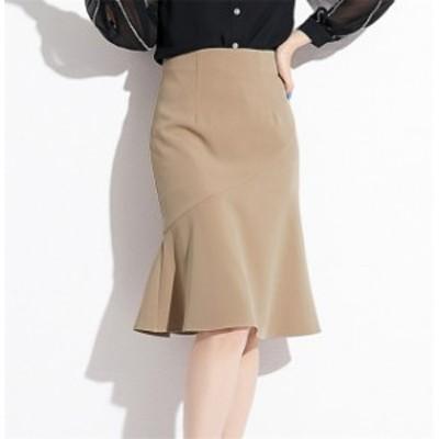 ひざ丈 スカート ふんわり マーメイド フレア 通勤 ビジネス レディース ドレス 風 Aライン