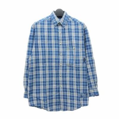 Timberland ティンバーランド「XS」定番 チェック柄 ボタンダウンシャツ (長袖 カッターシャツ ブルー) 098602【中古】