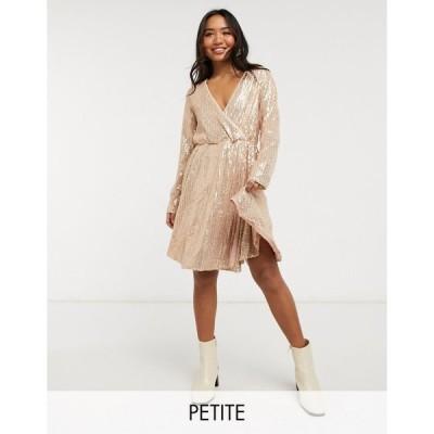 コレクティブ ミディドレス レディース Collective the Label Petite sequin wrap mini dress in rose gold ombre sequin エイソス ASOS ゴールド 金