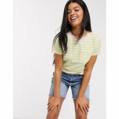 ブレイブソウル Brave Soul レディース Tシャツ トップス miami ringer striped t-shirt in lemon and pink