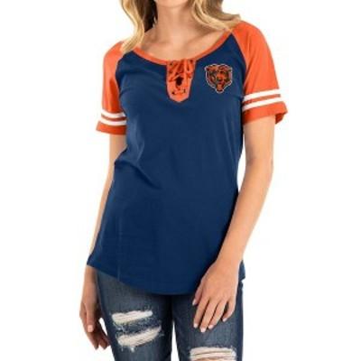 ニューエラ レディース Tシャツ トップス Chicago Bears New Era Women's Raglan Contrast Sleeve Lace-Up T-Shirt Navy/Orange
