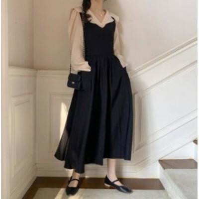 ジャンパースカート ロング ハイウエスト フレア ゆったり 大人可愛い 韓国 オルチャン ファッション