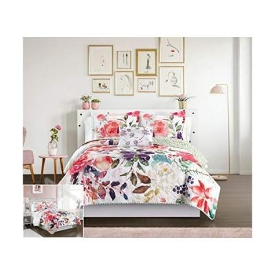Chic Home Retsina リバーシブルキルト4点セット 花柄 水彩デザイン 寝具 - 装飾用枕カバー付き ツイン BQS31945-AN【並