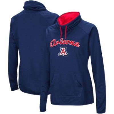 Stadium Athletic スタジアム アスレティック スポーツ用品  Arizona Wildcats Womens Navy Funnel Neck Pullover Sweatshirt