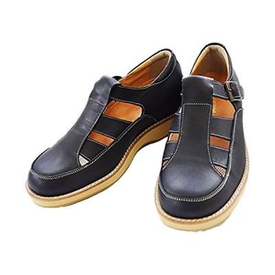 [北嶋製靴工業所] サンダル シークレットシューズ カジュアル 日本製 通気性 蒸れない 身長アップ 牛革 幅広 5.5