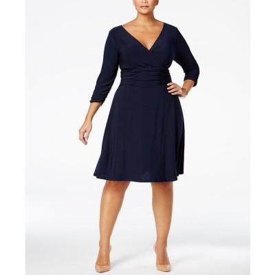 ニューヨークコレクション ワンピース トップス レディース Plus Size Ruched A-Line Dress Navy