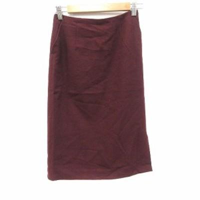 【中古】ナチュラルビューティーベーシック タイトスカート ひざ丈 起毛 ウール XS 赤 レッド レディース