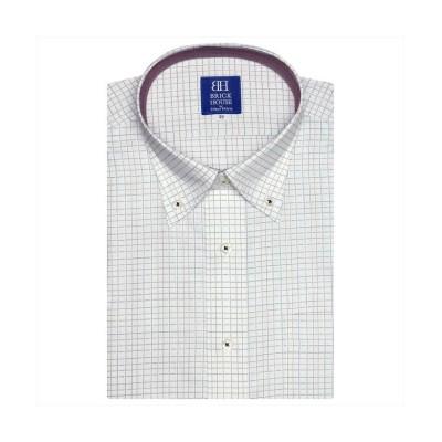 【トーキョーシャツ】 ワイシャツ 半袖 形態安定 ボタンダウン 白×エンジ、ネイビーチェック メンズ ピンク・レッド 37(半袖) TOKYO SHIRTS
