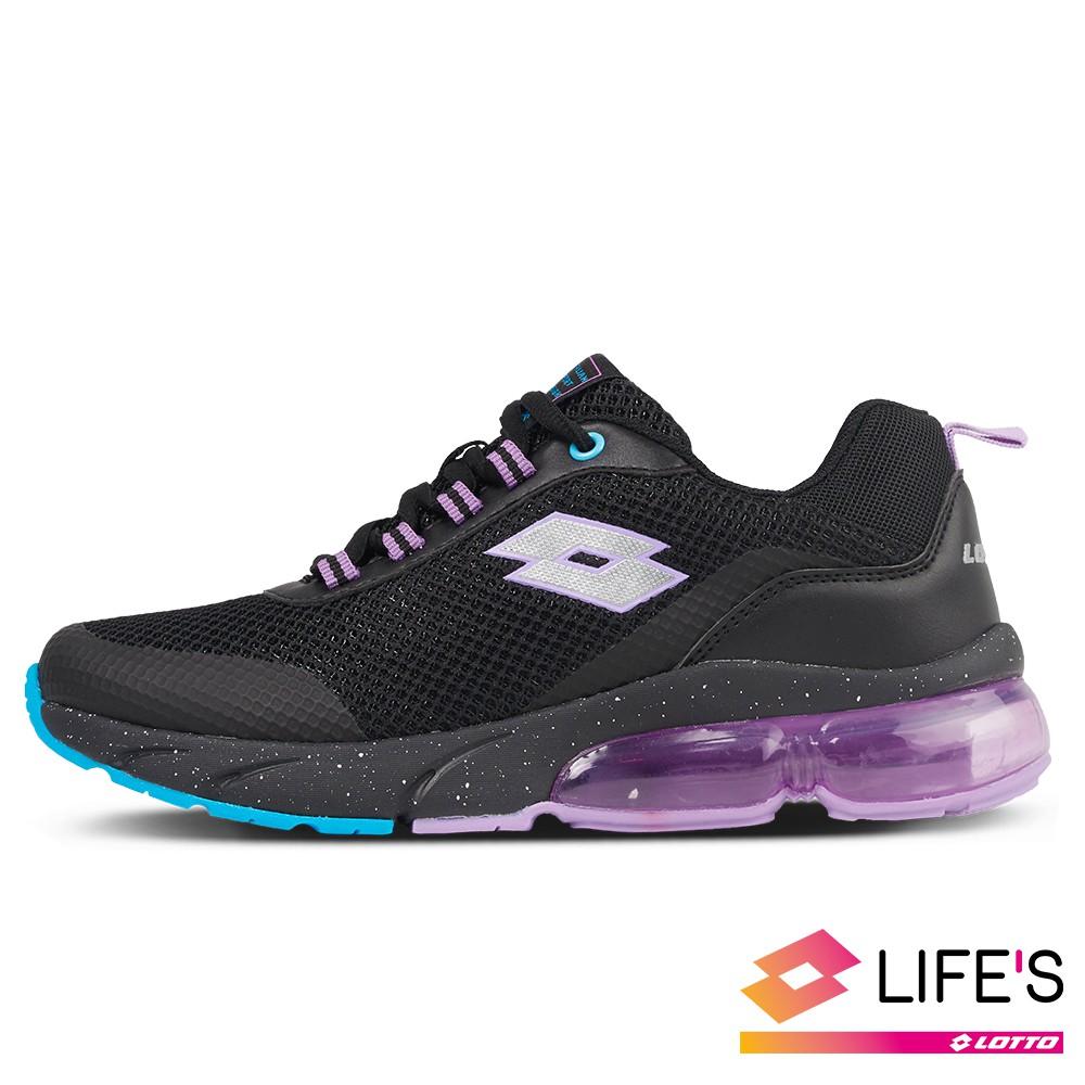 【LOTTO 】女 Shiny 閃耀氣墊跑鞋(黑/紫-LT0AWR2680)