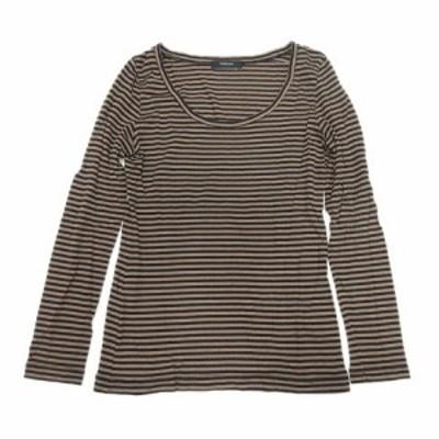 【中古】パリゴ PARIGOT Tシャツ カットソー ボーダー 長袖 茶 ブラウン 黒 ブラック/6 レディース