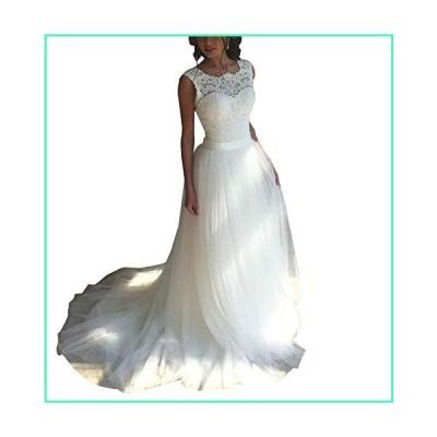 FJMM Scoop A-line Beach Wedding Dresses Sleeveless V-Back Lace Beaded Bridal Gowns White並行輸入品