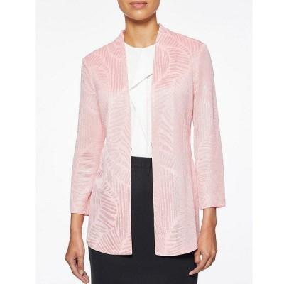 ミンウォン レディース ジャケット&ブルゾン アウター Lustrous Leaf Pattern Side Slit Mandarin Collar Jacquard Knit Jacket Pink Rose