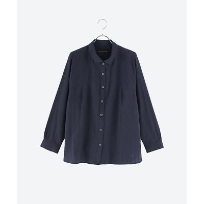 <green nout(Women)/グリーンノート> 大きいサイズ コットンドビーシャツ ネイビー(580)【三越伊勢丹/公式】