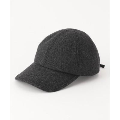 (anyFAM/エニィファム)ヘリンボーン編み上げ キャップ/レディース ブラック系1