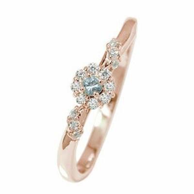 指輪 ピンキーリング 18金 アクアマリン 誕生石 アンティーク ミル 花 マニフィーク 指輪 フラワー 取り巻き レディース【送料無料】