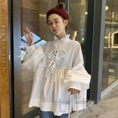 中学生 高校生 10代 20代 韓国 ファッション シャツ 長袖 フリルブラウス トップス ブラウス リボン おしゃれ 春 秋 5215