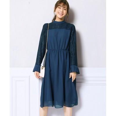大きいサイズ レース切替ワンピース(プライベートレーベル) ,スマイルランド, ワンピース, plus size dress