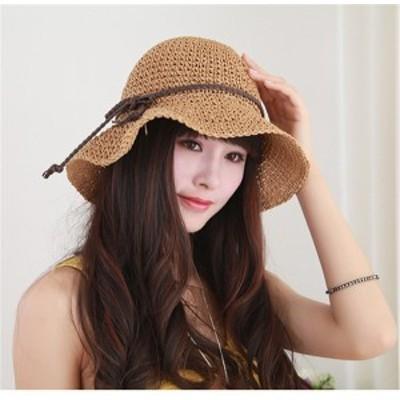 レディース帽子 UVカット 紫外線対策 シンプル ファッション 日よけ つば広 麦わら 新作 アウトドア かわいい ソフトレディース帽子