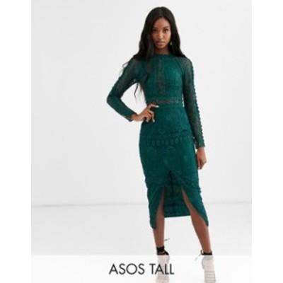 エイソス レディース ワンピース トップス ASOS DESIGN Tall long sleeve pencil dress in lace with geo lace trims Forest green