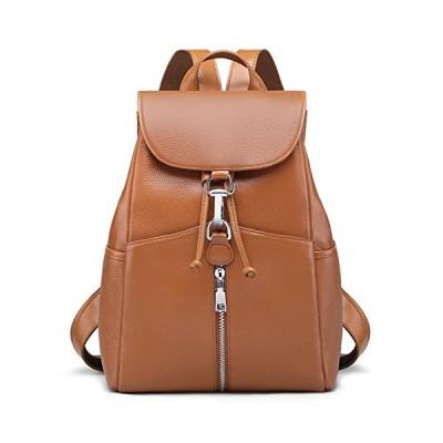 新しい女性の本物の本革のバックパック財布ビンテージ通学by Coolcy(茶)並行輸入品