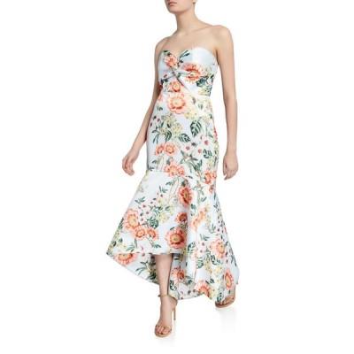 パーカー ブラック レディース ワンピース トップス Lilac Floral-Printed Strapless High-Low Satin Bustier Gown