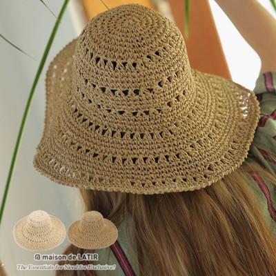 メゾンドラティール maison de LATIR 規則正しい網目が大人っぽい、シンプルな麦わら帽子 (ライトブラウン)