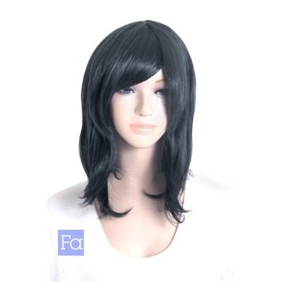 サイドロング 「レイヴンブラック」「ウィッグネット付」 コスプレ ウィッグ 黒髪 サイド ロング 耐熱180℃ (mlo-t1102)