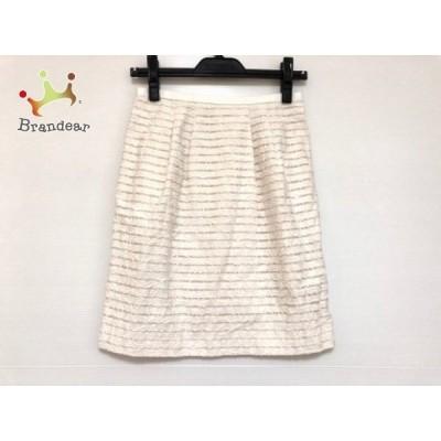 アプワイザーリッシェ スカート サイズ2 M レディース 白×ベージュ ボーダー/フラワー       スペシャル特価 20201004