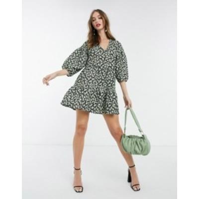 エイソス レディース ワンピース トップス ASOS DESIGN textured mini v-neck volume sleeve dress in green floral Green ditsy floral