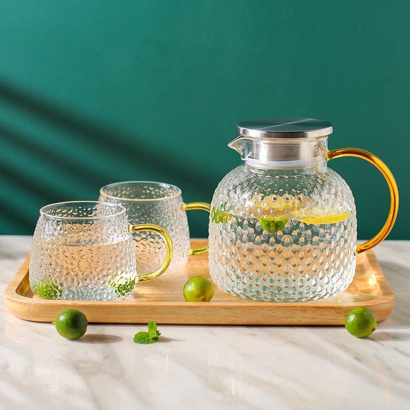 日式錘紋冷水壺涼水壺家用耐熱耐高溫玻璃涼茶壺涼水杯套裝