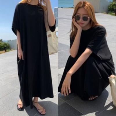 ゆったりワンピース ロング 黒 ワンピース 夏服 レディース 韓国 ファッション 夏物 ワンピース 半袖 ビッグシルエット tシャツワンピー