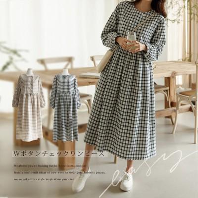 [韓国ファッション]Wボタンチェックワンピース