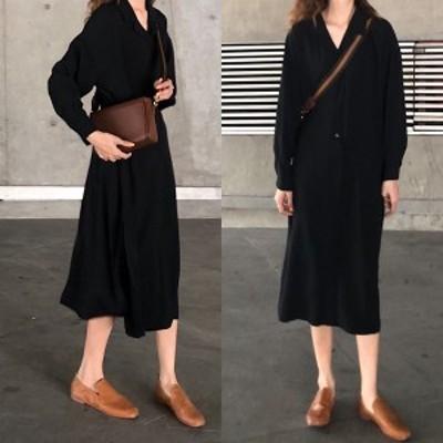 ワンピース シャツ プルオーバー ロング レディース 黒 長袖 ゆったりサイズ ミディ丈 春 秋 薄手 オーバーサイズ ウエストリボン