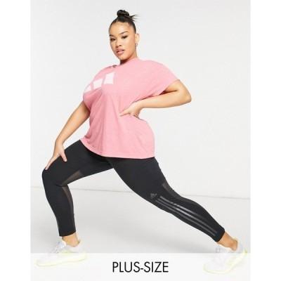 アディダス レディース Tシャツ トップス adidas Training plus t-shirt in pink Pink