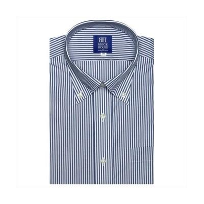 (BRICKHOUSE/ブリックハウス)ワイシャツ 半袖 形態安定 ボタンダウン 白×ネイビーストライプ/メンズ ブルー