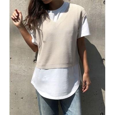 【ミージェーン】 ニットベストxTシャツセット レディース ライト ベージュ FREE me Jane