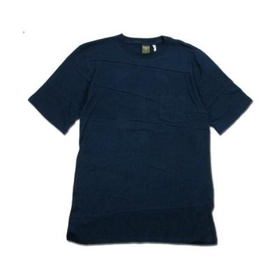 Phatee (ファッティー) PROGRESS POCKET TEE ヘンプコットン パッチワーク Tシャツ / NAVY