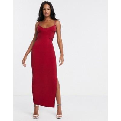 フラウンスロンドン レディース ワンピース トップス Flounce London cami midi dress with open back in red