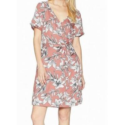 Roxy ロキシー ファッション ドレス Roxy Womens Pink Size 8 Floral Printed V-Neck Wrap Sheath Dress