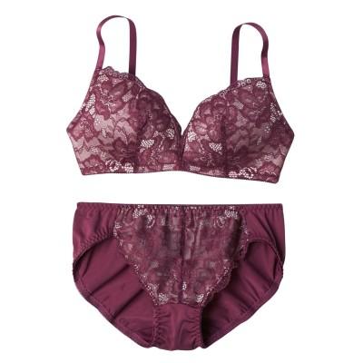 立体モールドで整えるデザインノンワイヤーブラジャー・ショーツセット(M) (ブラジャー&ショーツセット)Bras & Panties