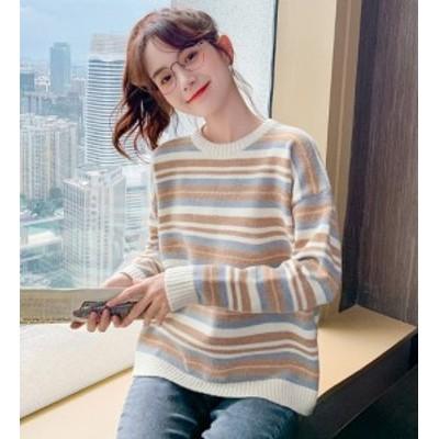 韓国 ファッション レディース トップス 秋冬 長袖 無地 ボーダー チェック ニット セーター ベージュ ホワイト おしゃれ オーバーサイズ