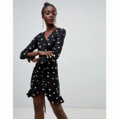 リバーアイランド ワンピース heart print tea dress in black Multi