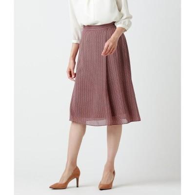 NEWYORKER / 幾何学ヘリンボーンプリント ラップ風デザインスカート