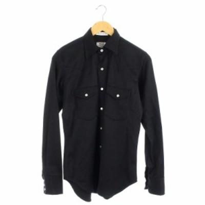 【中古】マディソンブルー MADISONBLUE コンチョボタンシャツ 長袖 ウール混 2 黒 ブラック /DF ■OS メンズ