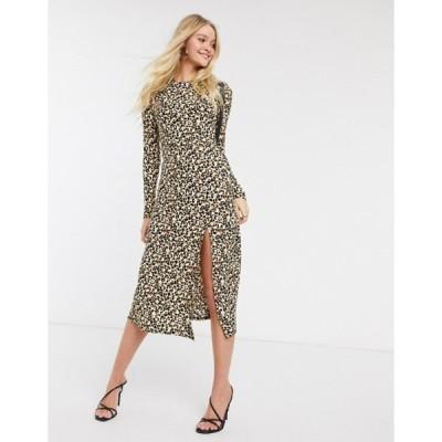 リバーアイランド レディース ワンピース トップス River Island long sleeve leopard print midi dress in brown