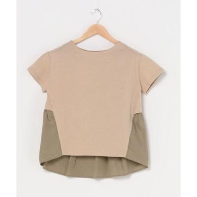 tシャツ Tシャツ 異素材コンビトップス