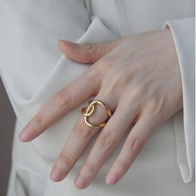 欧米INS風金属ステンレス製金色フリーサイズ人差し指指輪 (調節可能) T-R115