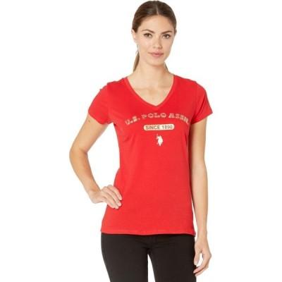 ユーエスポロアッスン U.S. POLO ASSN. レディース Tシャツ トップス Bling Logo T-Shirt Racing Red